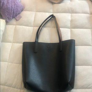 Black/brown reversible tote bag